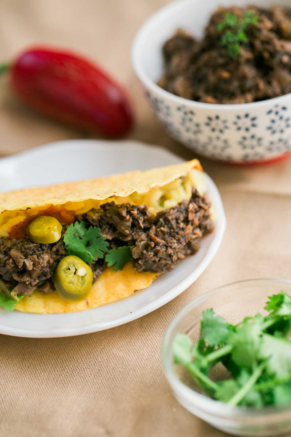 These spicy vegan beef tacos are super delicious!