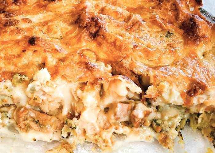 Cheesy Vegan Broccoli Cauliflower Bechamel Bake