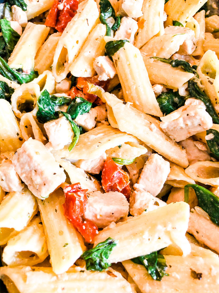 Chicken Spinach Sun Dried Tomato Vegan Penne Pasta