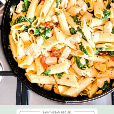 Chicken, Spinach + Sun Dried-Tomato Pasta (Vegan)