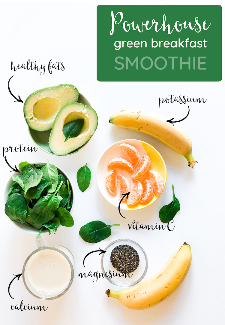 Green protein avocado breakfast smoothie recipe