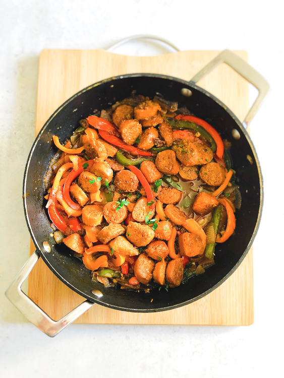 Vegan Sausage, Peppers and Onion Skillet